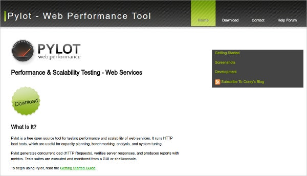 pylot http test load web performance tool