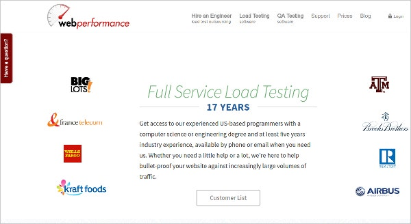 WebPerformance - Full Service HTTP Load Testing