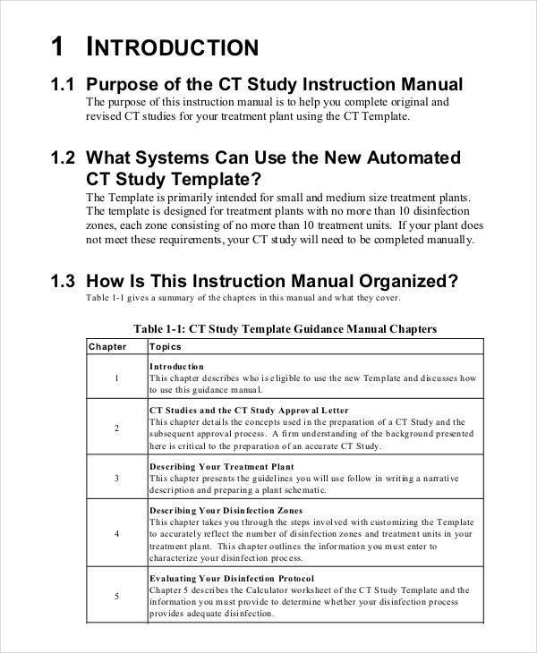Great CT Instruction Manual Template