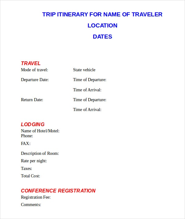 trip itinerary template