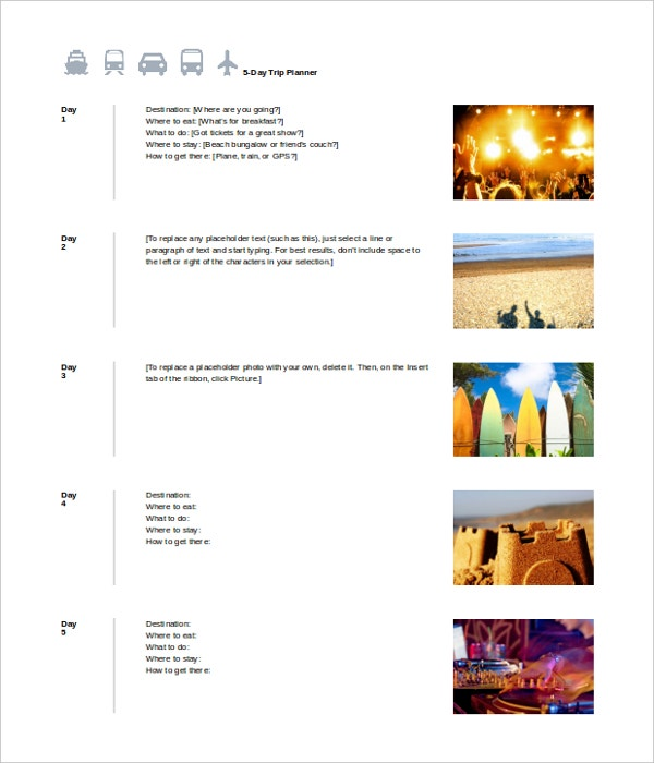 Holiday Itinerary Templates