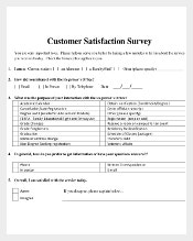 Sample Customer Service Survey Template Free Download