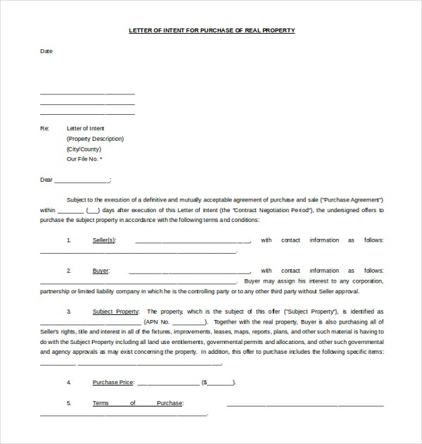 19 letter of intent template free sample example for Letter of intent for real estate purchase template