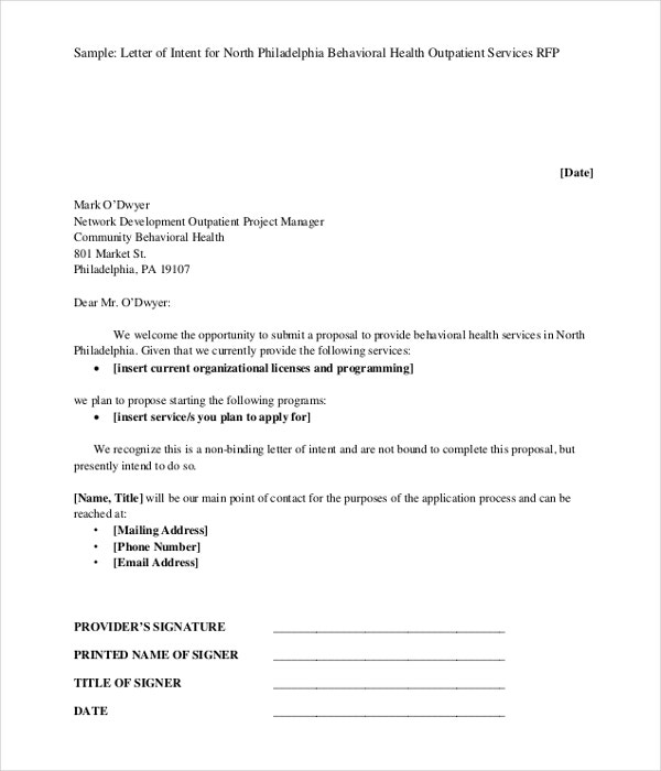 Business Letter Of Intent  Business Letter Of Intent Sample Template