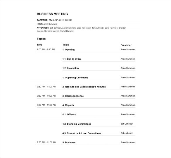 High Quality Business Meeting Agenda Template Free PDF Download