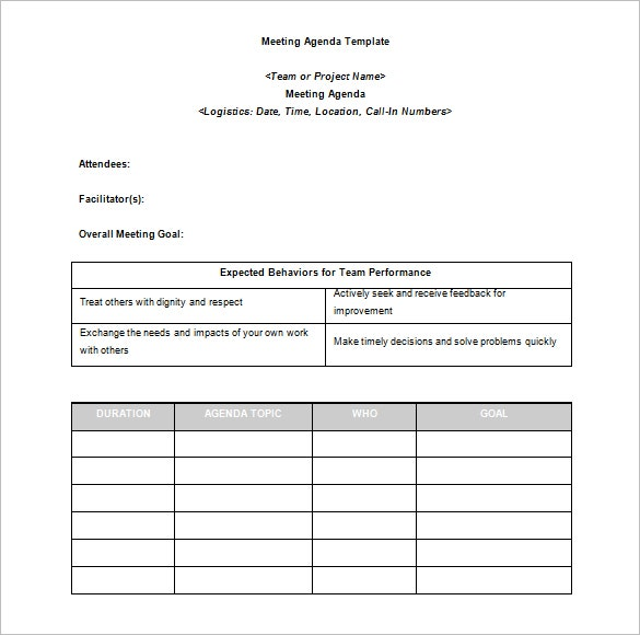 Agenda Template 24 Free Word Excel Pdf Documents Download