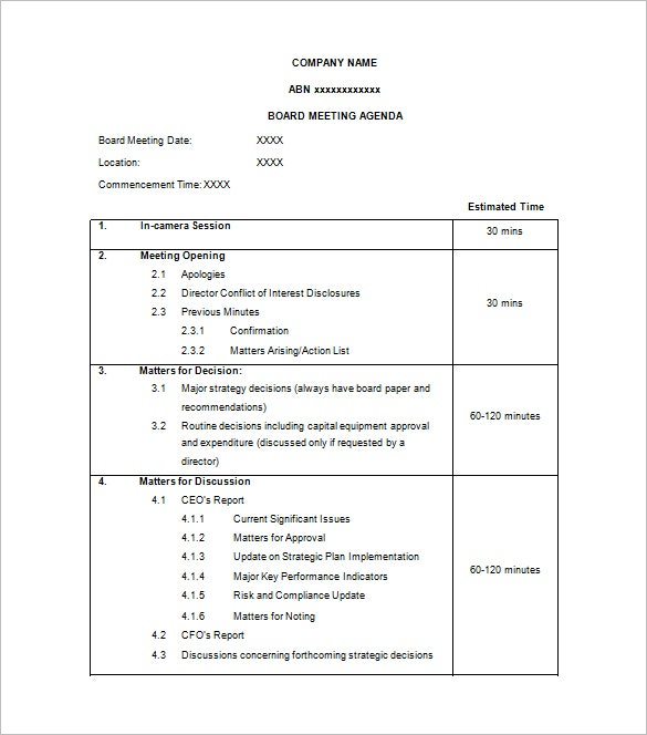board of directors meeting agenda template free word format