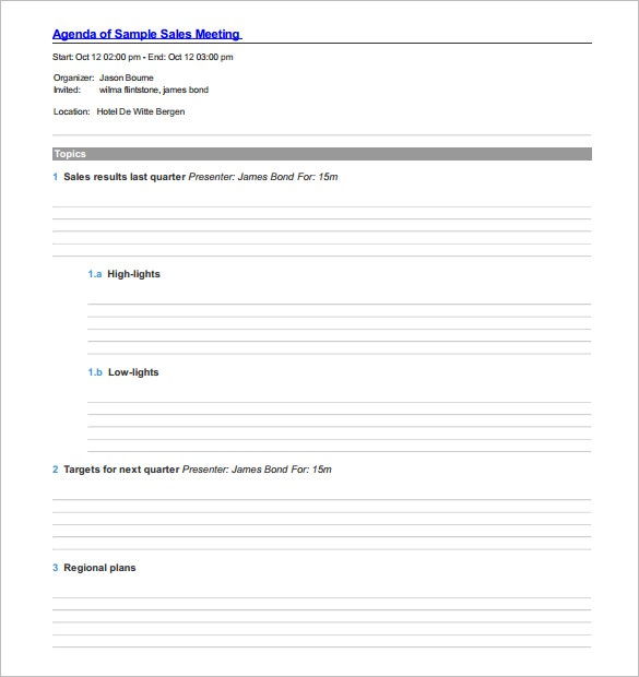 sample sales meeting agenda template pdf format