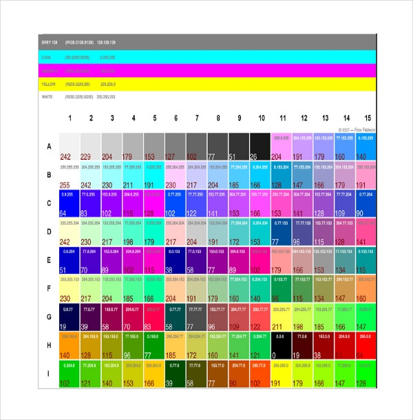 Word Pantone Color Chart Template