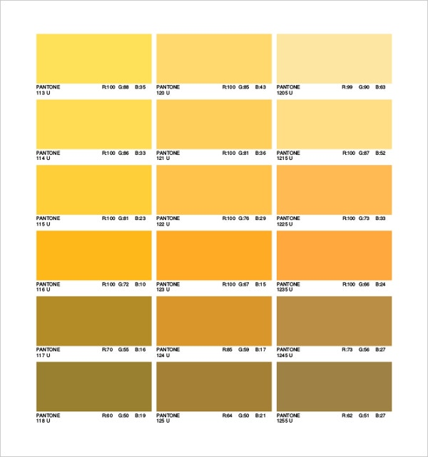 9 Pantone Color Chart Templates Free Sample Example Format