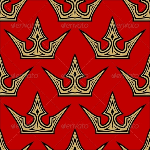 Golden Crowns Seamless Pattern