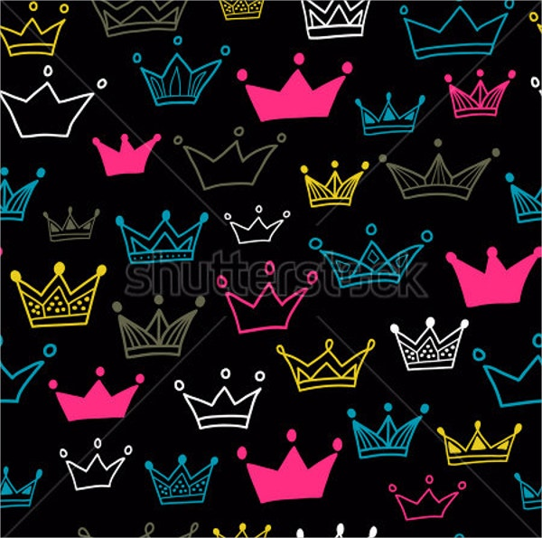 Crowns Vector Seamless Pattern on Black Background