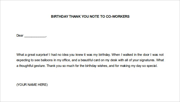 Free Birthday Thank You Notes to Coworkers