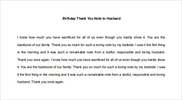Birthday Thank You Note to Husband