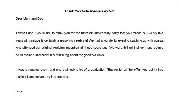 Anniversary Thank You Note for Gift Template