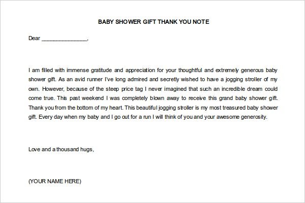 Baby Shower Thank You Note for Gift Card Template