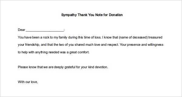 Donation Sympathy Thank You Note Template