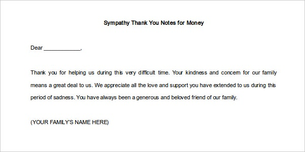 Download Sympathy Thank You Notes Template for Money