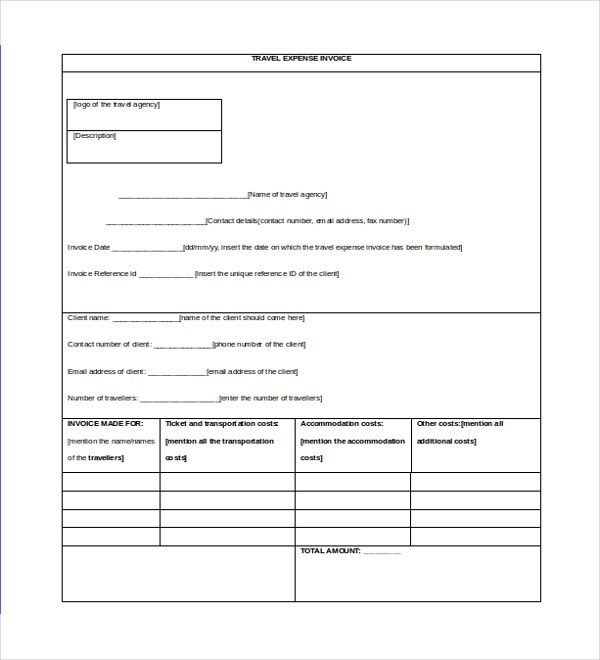 Travel Invoice Template  Invoice Style