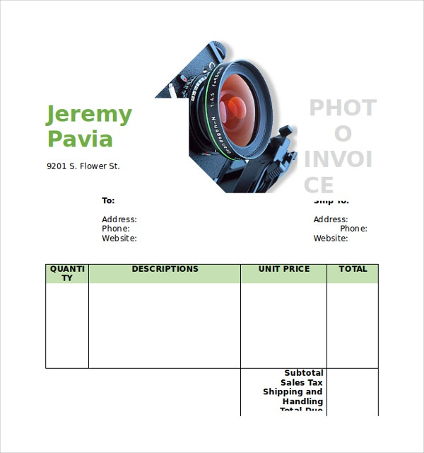 Photography Invoice