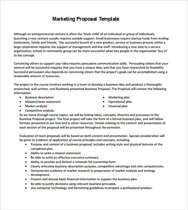 Business Marketing Proposal Template Format Download