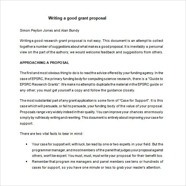 Grant Writing Proposal Sample Template