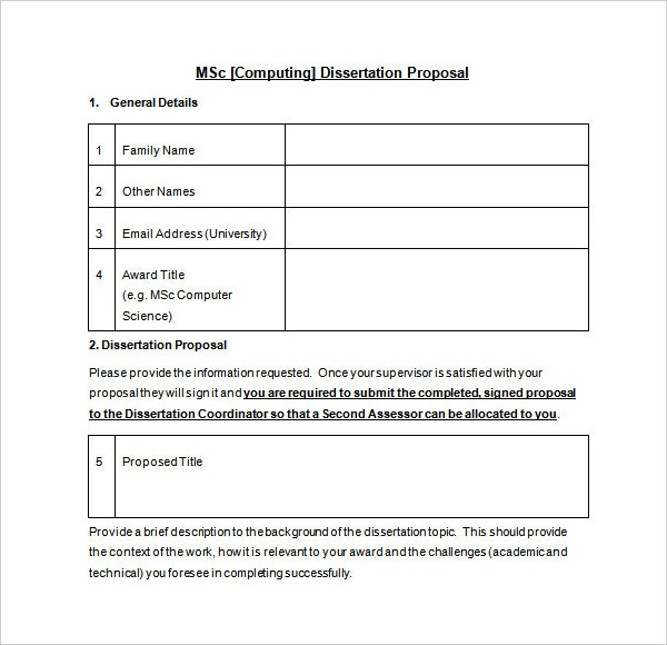 MSC Dissertation Proposal Template Sample