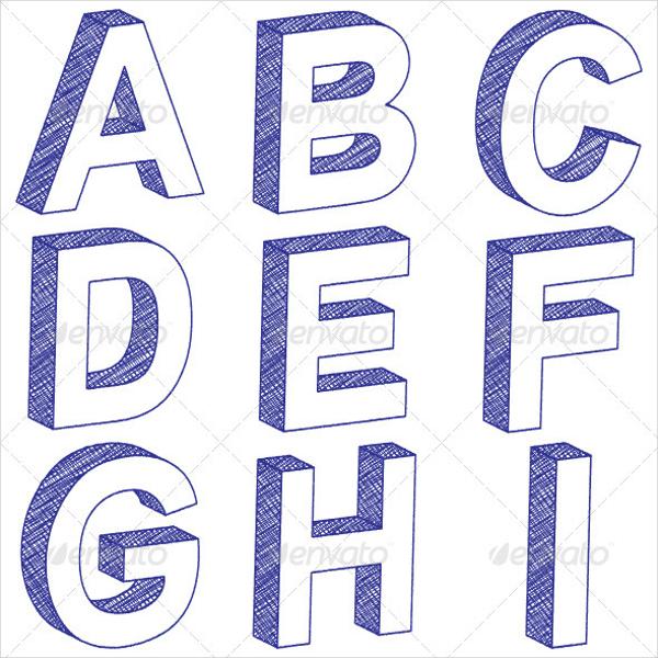 Рисуем 3д буквы от а до я