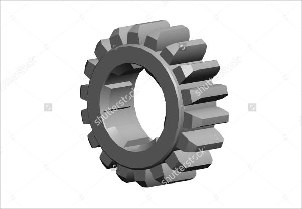 3d metal gear wheel drawing