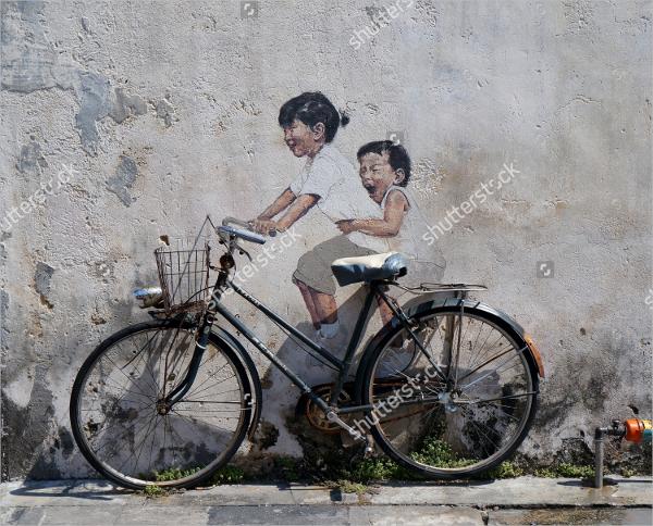 3d street wall drawing