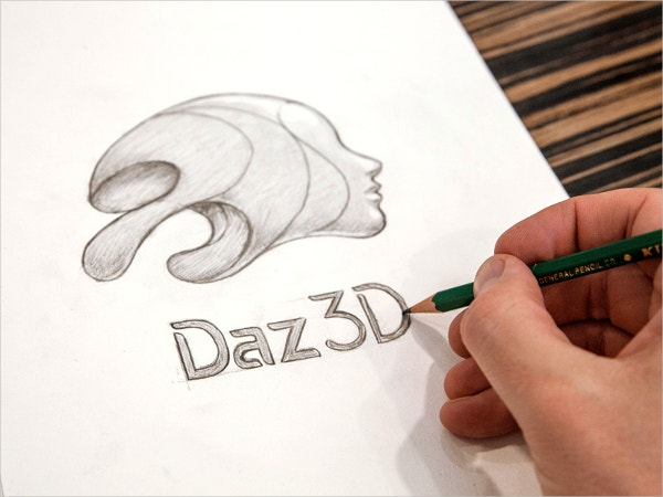 3d logo sketch drawing