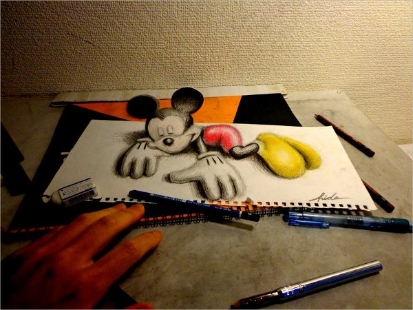 Mickey Mouse 3D Drawing