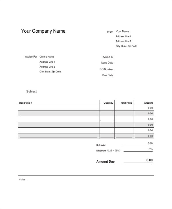 professional invoice template- 8+ free word, excel, pdf documents, Invoice templates