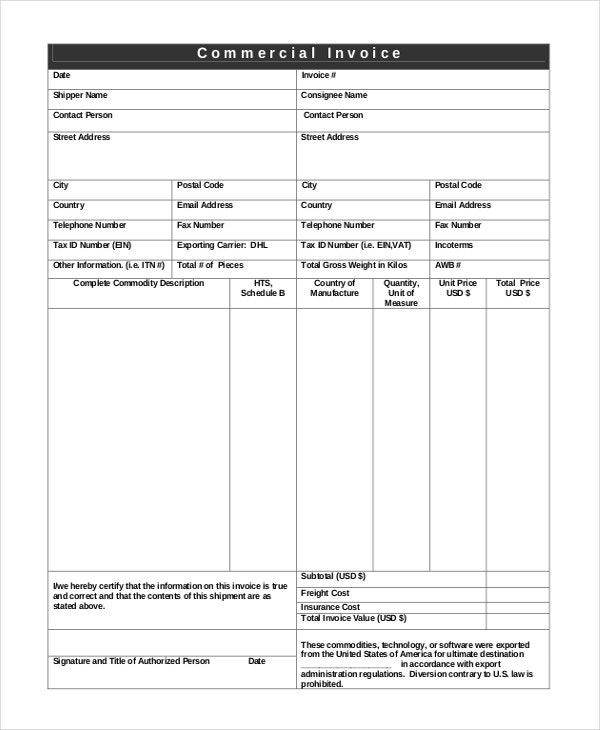Professional Invoice Template 8 Free Word Excel PDF Documents – Shipping Invoice Template