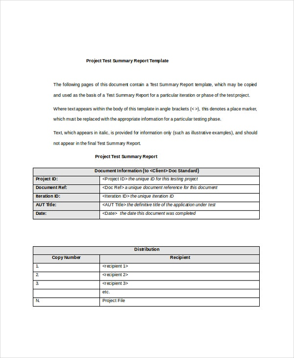 Test Report Template Project Management Status Report Template