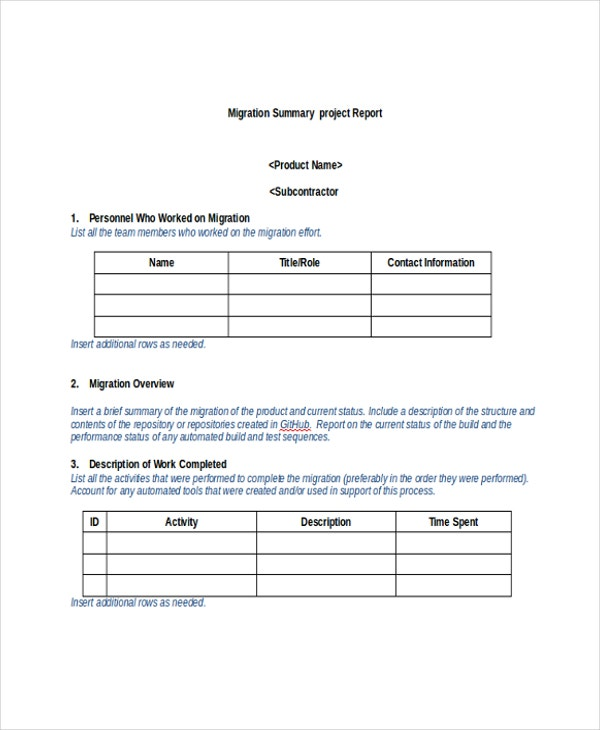 Beautiful Migration Project Summary Report Template Ideas Project Summary Template