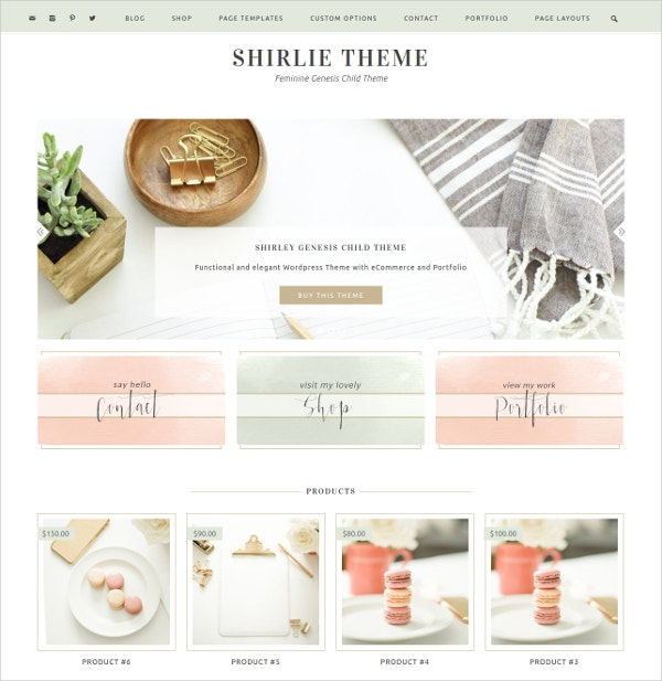 Ecommerce Feminine Portfolio Website Theme $65