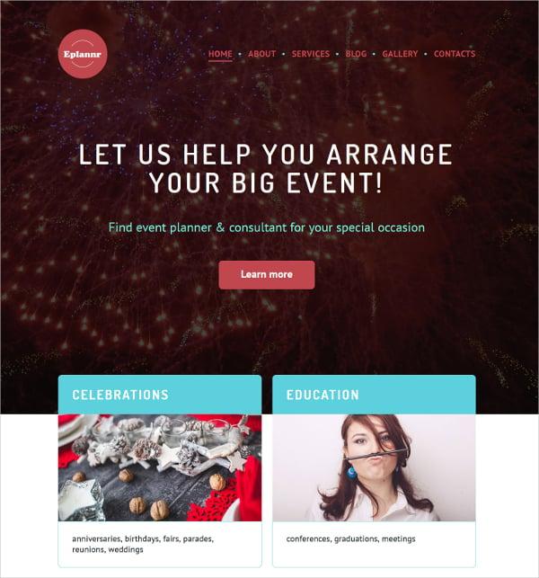 Event Planner WordPress Portfolio Website Theme $75