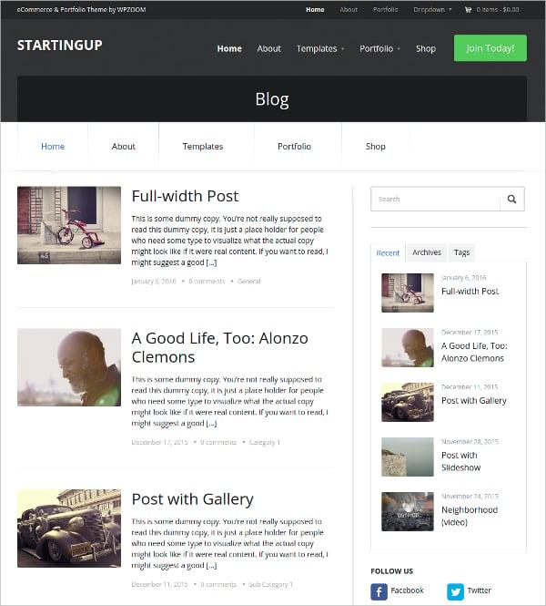 WooCommerce Portfolio WordPress Website Theme $69