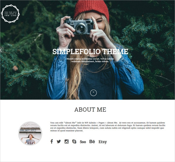 Photography WordPress Website Theme $20