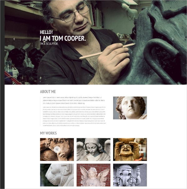 Sculptor Artist Website Template $69