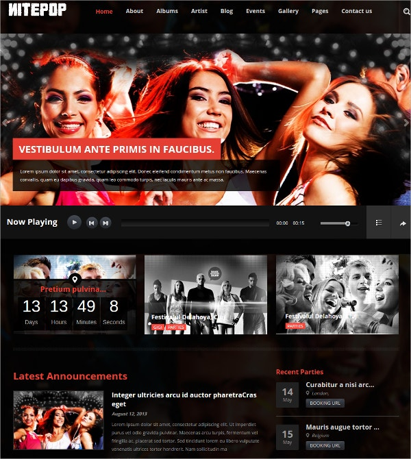 Music Band & Artist WordPress Website Theme $49