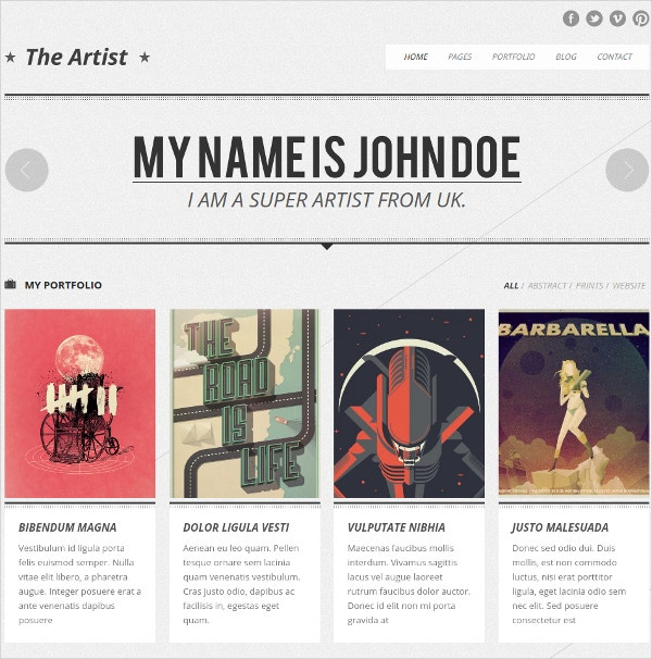 Artist Clean Responsive Portfolio Website Theme $49