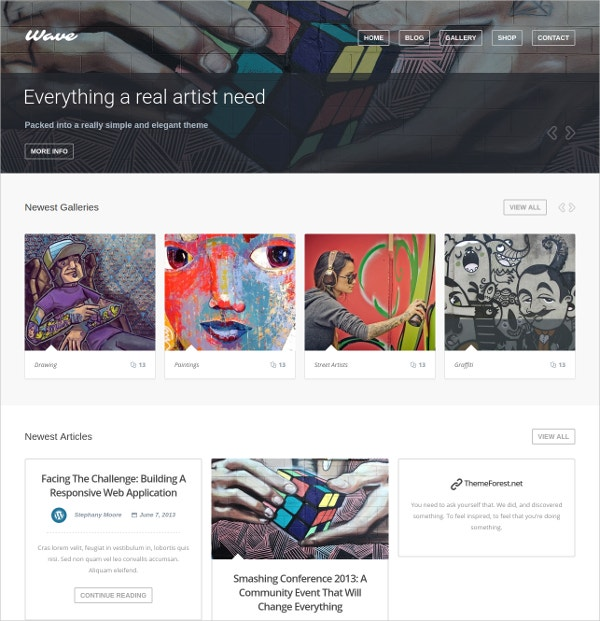 WordPress Website Theme For Artists $59