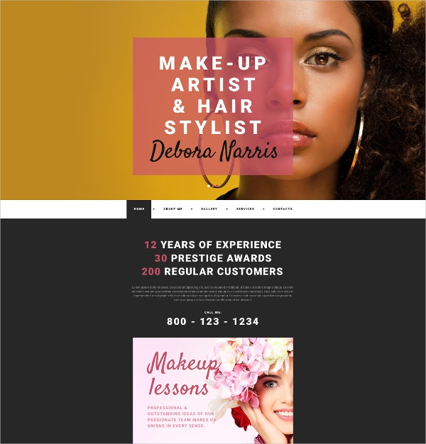 Make Up & Hair Style Website Template $75
