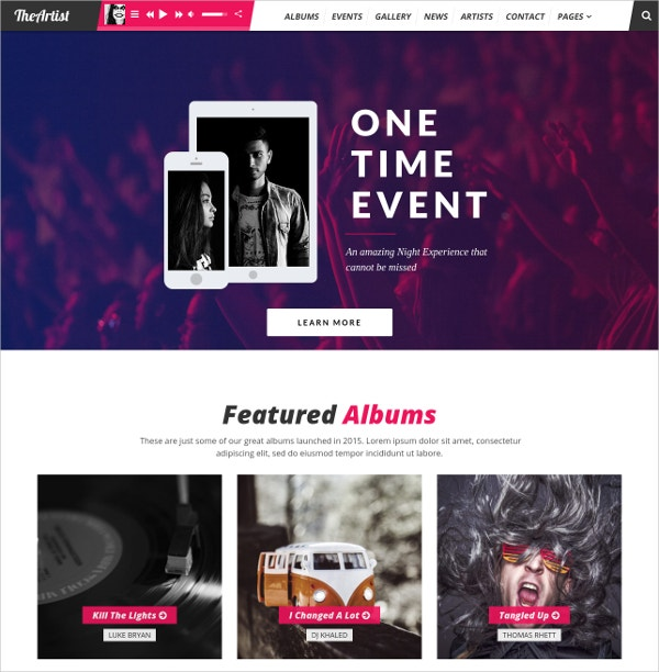 Artist Band Music WordPress Website Theme $59