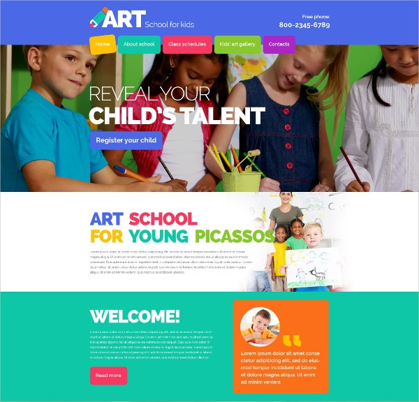 Children Art School Website Template $69