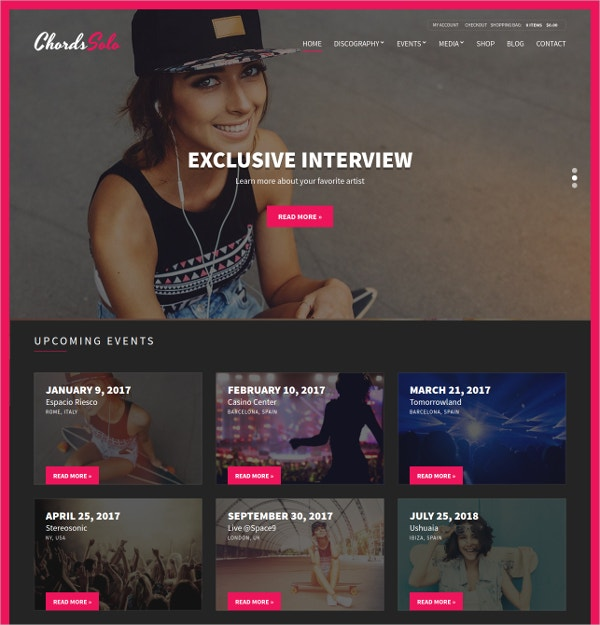 Music, Artist & Radio WordPress Website Theme $59