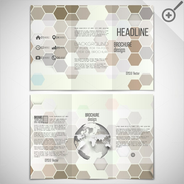 tri fold brochures with hexagons