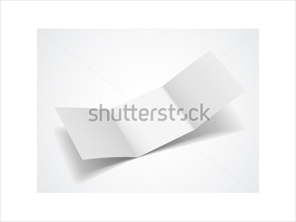 Blank Tri Fold Brochure Isolated on White Background